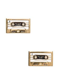Kate Spade KATE SPADE 12K Gold Plated Jazz Things Up Cassette Stud Earrings NEW