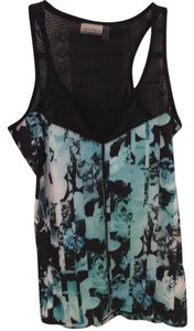 Nanette Lepore Top black white teal green and blue
