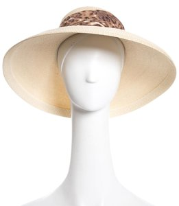 Patricia Underwood Ivory Woven Hat With Animal Print Scarf