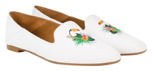 Aquazzura Toucan Slipper Embroidered White Flats