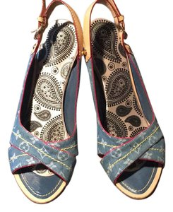 Louis Vuitton jean fabric and leather red lining Sandals