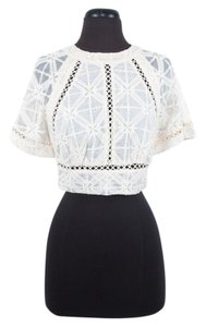ZIMMERMANN Cotton Lace Cropped Top Ivory