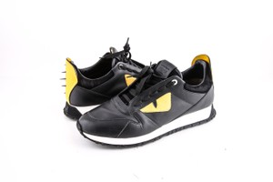 Fendi Black Yellow * Bugs Sneakers Lace-up In Leather with Inlay Shoes