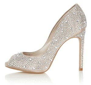 Karen Millen Peep Toe Crystal Limited Edition Champagne Formal