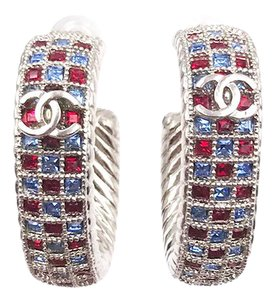 Chanel Chanel Brand New Silver Hoop Blue Red Crystal Piercing Earrings