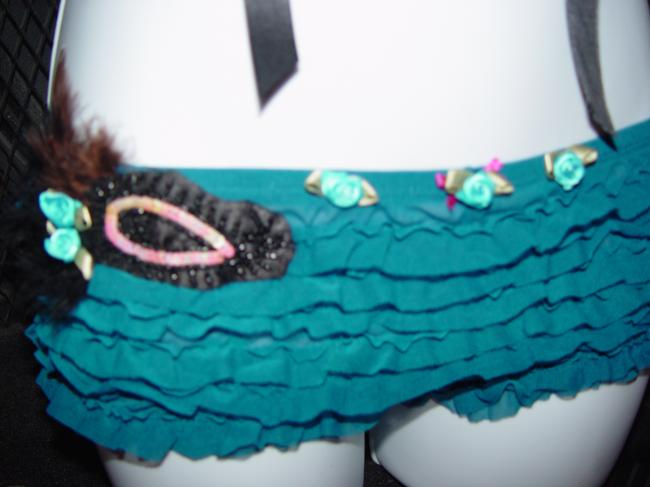 AgaTha CouTure Burlesque Showgirl Vegs Showgirl Hot Pant Black and Turquoise Halter Top