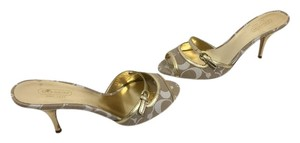 Coach Soles Tan and white logo fabric gold leather borders, heels toe strap slip on mules Mules