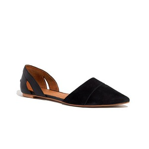 Madewell D'orsay Suede Leather Cutout Cutout Black Flats