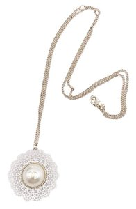 Chanel Chanel Brand New White Lace Gold CC Pearl Pendant Necklace