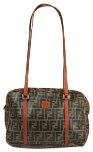 Fendi Exterior Pocket Gold Hardware Style Satchel in Zucco or large F logo print coated canvas in shades of brown and burnt orange leather