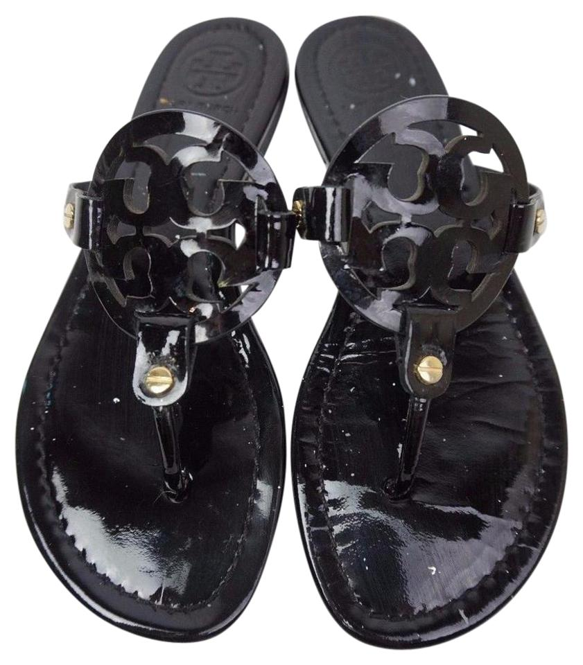 e7bd7f0aecb0 Tory Burch Black Miller Flip Flops Patent Leather Sandals Size US 7 ...