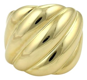 David Yurman 18k Yellow Gold Wide Dome Style Cable Band Ring Size 5.5