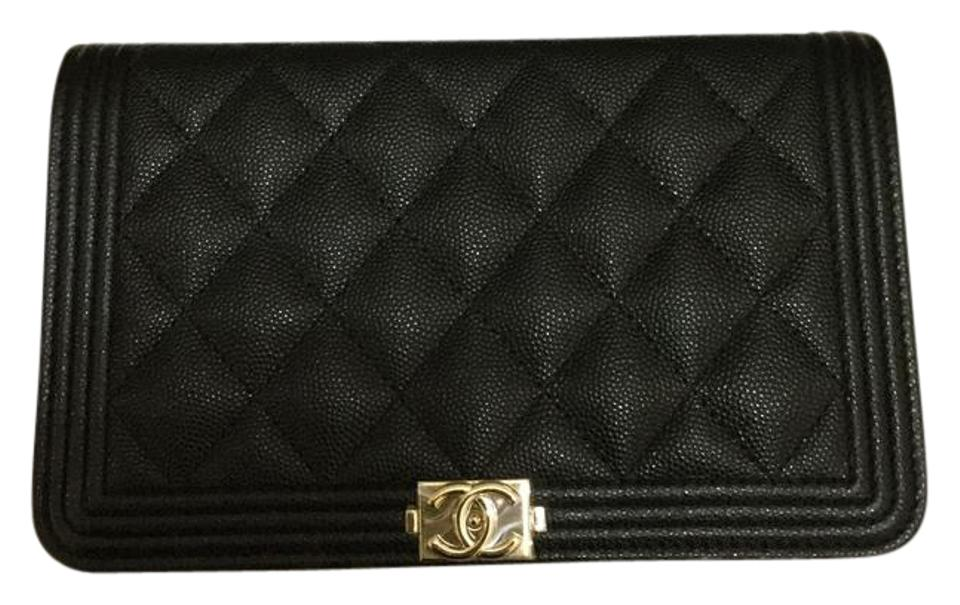 1cff0fb85767 Chanel Wallet on Chain Boy 17p Quilted Woc Black Caviar Leather Cross Body  Bag