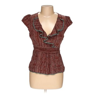Anthropologie Silk Ruffle Odille Striped V-neck Top Rust