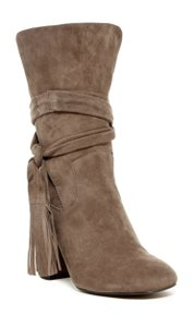 Shellys London Suede Round Toe Tassels Cuff Leather TAUPE Boots