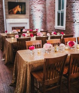 90x156 Gold Sequin Tablecloth