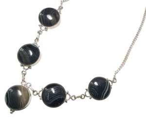 New Black Striped Agate Gemstone Necklace 925 Silver J758