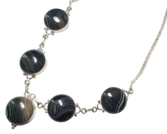 Other New Black Striped Agate Gemstone Necklace 925 Silver J758