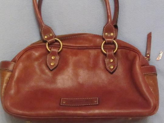 American West Satchel in brown with print