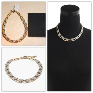 J.Crew Crystal Triangle Statement Necklace Gold