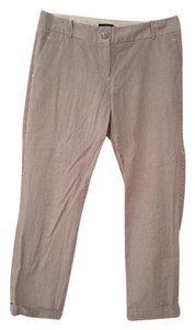 The Limited Capri/Cropped Pants Grey Pinstriped