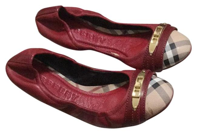 Burberry Deep Red Haymarket Aston Ballerina Flats Size US 8 Regular (M, B) Burberry Deep Red Haymarket Aston Ballerina Flats Size US 8 Regular (M, B) Image 1
