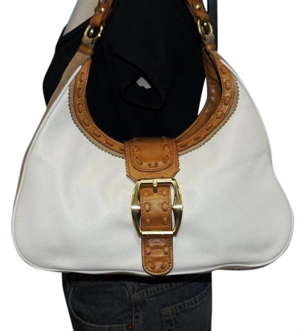 Item - Hobo Carryall Buckle Satchel Purse Tote Boho White with Tan Trim Leather Shoulder Bag