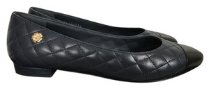 Chanel Quilted Cap Toe Leather Navy Blue Flats