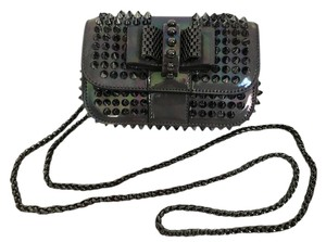 Christian Louboutin Patent Leather Spike Iridescent Bow Cross Body Bag