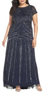Adrianna Papell Art Deco Cap Sleeve Beaded Gown Dress
