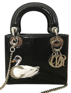 Dior Leather Swan Crystal Tote Cross Body Bag