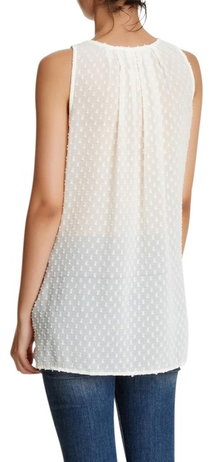 Item - Ivory Embroidered Woven Swiss Dot Knit Tank Blouse Size 6 (S)