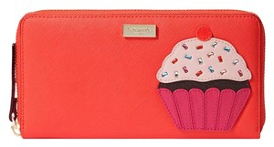 Kate Spade Cupcake Wallet Croshatched Leather Zip Wallet Neda Continental Multi Clutch