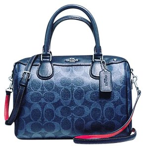 Coach Satchel in blue and red