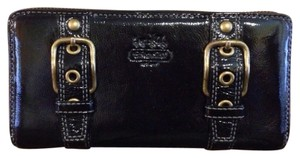 Coach Coach Zoe Black Patent Zip Around Wallet