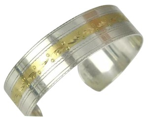 Simmons Simmons, sterling silver, 14k yellow gold, designer cuff bracelet