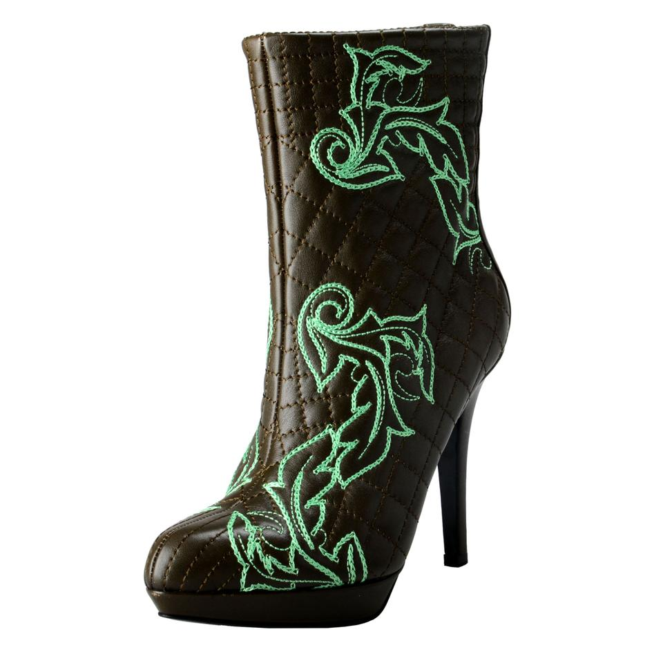 Versace Olive Green / Green Boots/Booties Women's Quilted Leather High Boots/Booties Green bf7182
