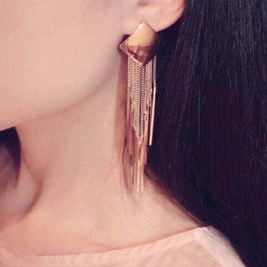 Other silver gold plated tassel Earrings Image 3