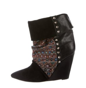 Isabel Marant Bootie Ankle Boot Leather Studded Black Wedges