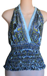 Laundry by Shelli Segal Paisley Silk Elastic Empire Waist Sleeveless BLUE Halter Top