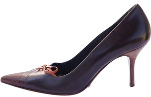 Dolce&Gabbana Leather Stacked Heel Lace Up Pointed Toe Brown Pumps