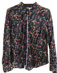 Old Navy Casual Feminine Button Down Shirt Deep navy floral