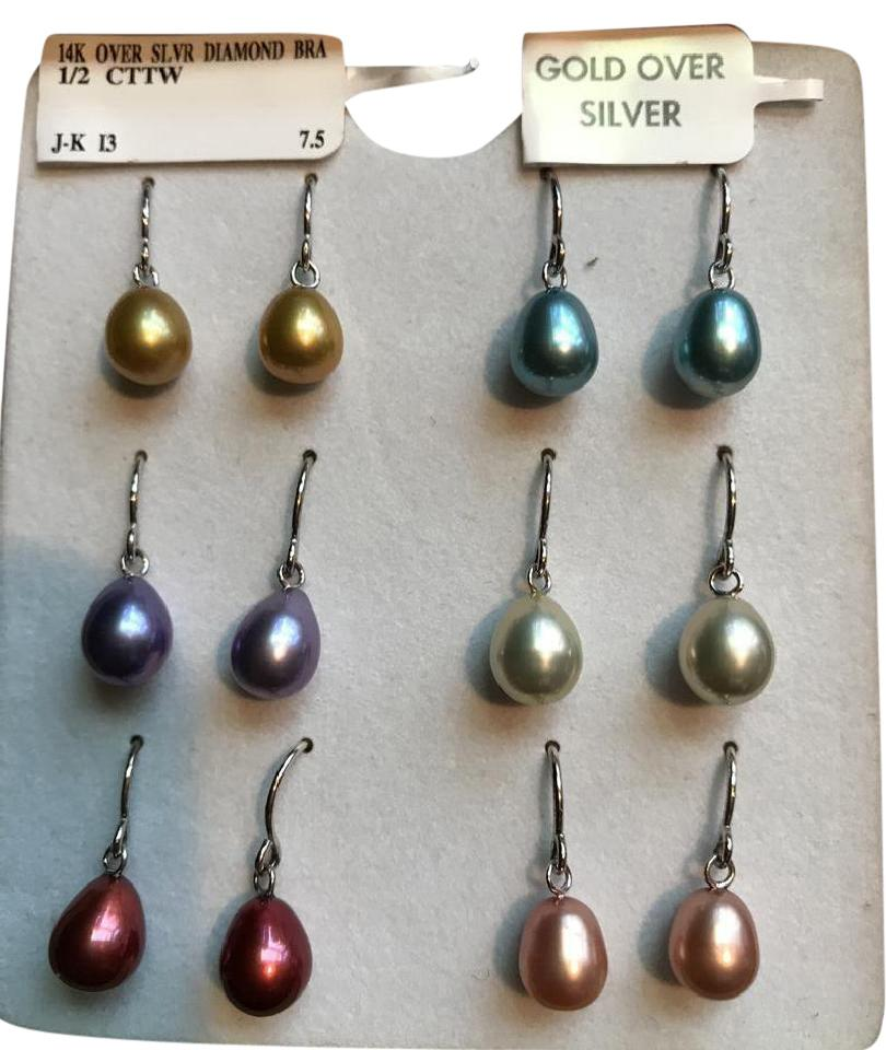 Honora Six Cultured Pearl Dangle Earrings With Gold Over Silver