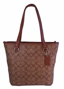 Coach F34603 Signature Top Zip Shoulder Tote in Khaki / Saddle