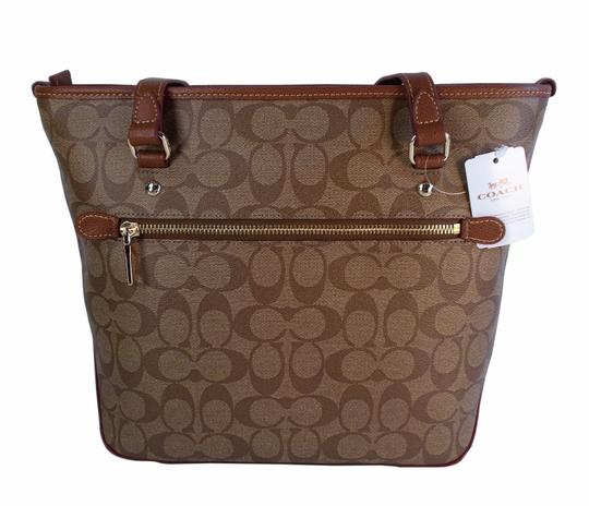 Coach F34603 Signature Top Zip Shoulder Tote in Khaki / Saddle Image 2