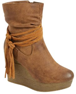 Sbicca Tassels Wedge Tavie TAN Boots