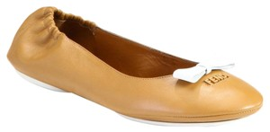 Fendi Ballet Leather Tan Flats