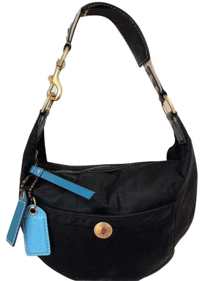 74310f22d44b Coach Women s Shoulder Handbag and Leather And Black   Teal Nylon Hobo Bag