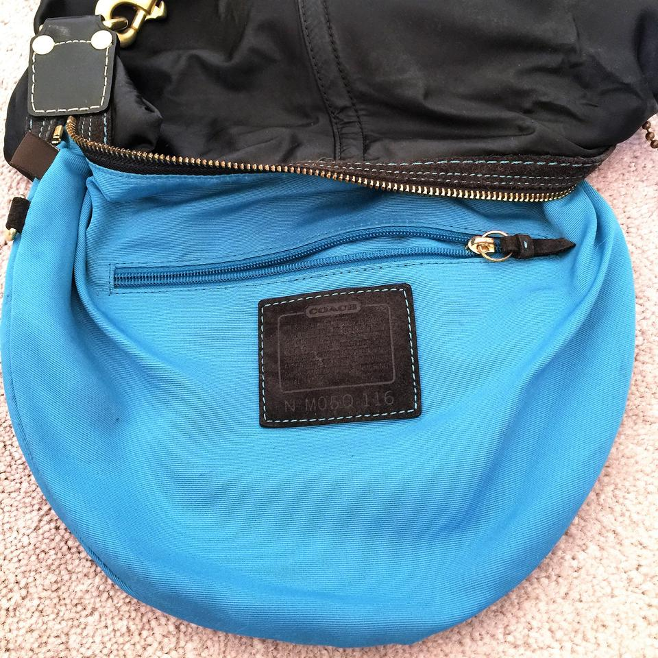 5d319e4b5244 Coach Women s Shoulder Handbag and Leather And Black   Teal Nylon ...