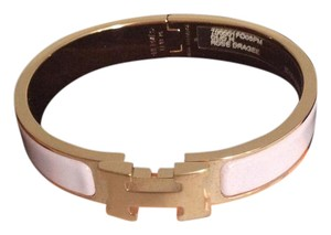Herms 2017 Hermes Rose Dragee & Rose Gold Clic Clac H Bracelet PM w receipt